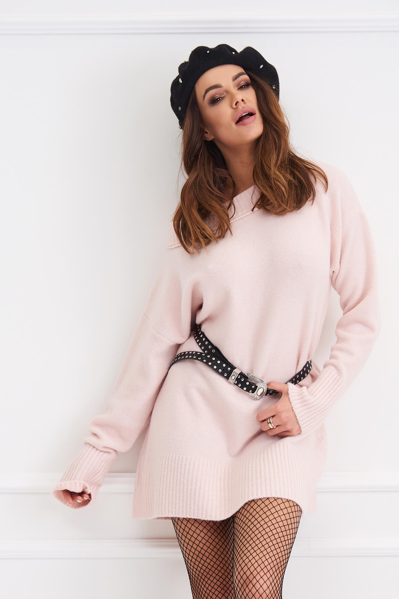 bc664784e52 Click to enlarge. HomeShopDresses Long Sleeved Knit Jumper Dress Powder  Pink One size