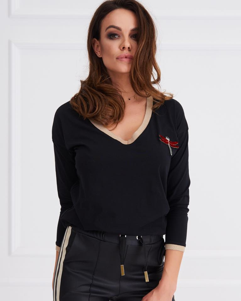 6a1968a8ecee9 Click to enlarge. HomeShopTops   Tshirt WOMEN S BLACK EMBELLISHED DRAGONFLY  ...